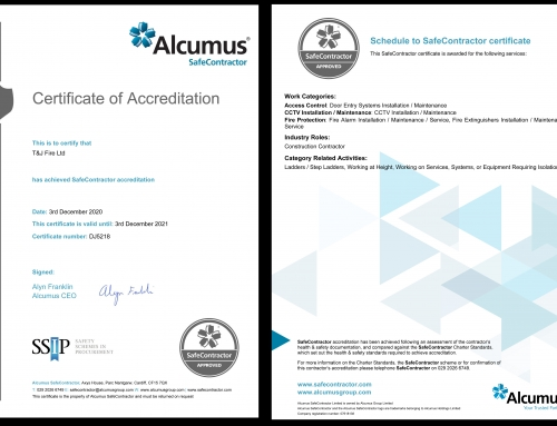 We are pleased today to have received our Certificate of Accreditation for Alcumus SafeContractor.